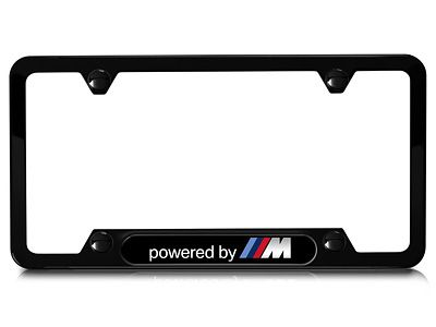 BMW - Stainless Steel Black License Plate Frame - Powered By M
